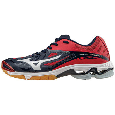 Mizuno Men's Wave Lightning Z2 Volleyball Shoes - Navy & Red - 430203