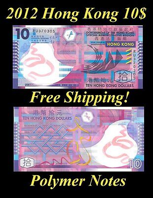 Hong Kong 2012 10$ Polymer Note Unc. P 401 Special Administrative Region Dollars