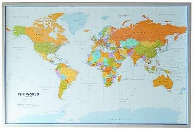 World Map Cork Pin Board English+12 Pin Flags 90x60cm #199061