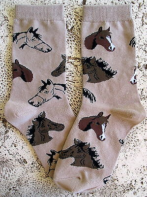 New Wild Habitat Ladies Socks Horses Collectible Western Finest Quality! Brn