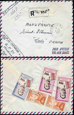 Laos 1963 Registered Airmail 5 Stamp Franking