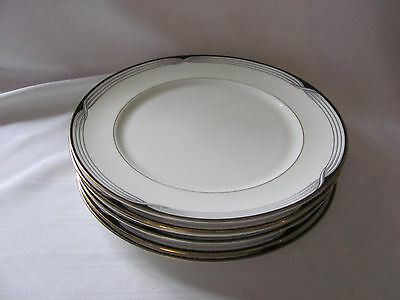 Lenox Debut Collection 5 bread & butter plates Erica white black gray gold 910