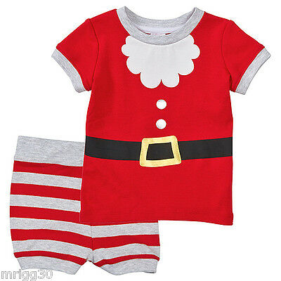 BABY size 0 CHRISTMAS SANTA Summer PYJAMAS  NEW  6 - 12 mths outfit costume pjs