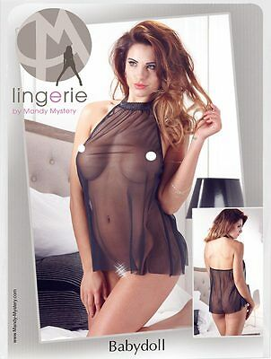 Baby doll nero trasparente colletto in pizzo Short trasparent babydoll Mandy M.
