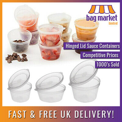 Hinged Lid Clear Plastic Reusable Sauce Containers! | Cups/Pot/Tub/Deli/Takeaway