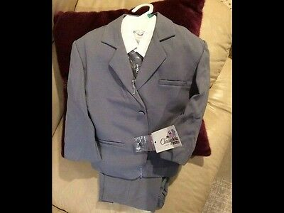 NEW Boy's Formal Grey Suit with Long Tie Set (baby small 0-6 months)