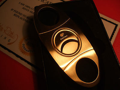24Ct Gold Plated Cohiba Smokers Cigar Pocket Cutter Guillotine Gift Boxed