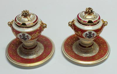 Pair of Old Paris Porcelain Condiment Jars with attached Underplates 19th c.