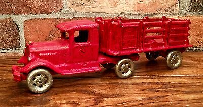 Cast Iron Hubley Coast-to-Coast Red Garbage Truck & Trailer Vintage Toy