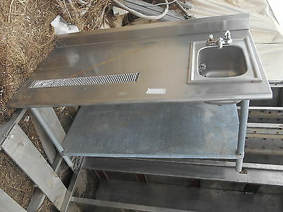 stainless steel work table with Drain Board and built in Sink