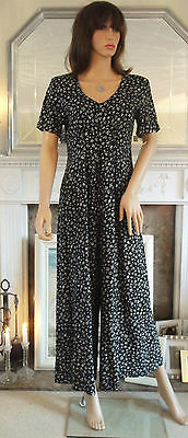 VINTAGE 80s BLACK FLORAL JUMPSUIT PLAYSUIT PALAZZO PANTS DRAPED MAXI ONE PIECE