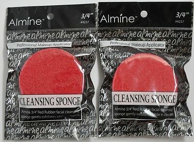 "Brand New Lot Of 2 Almine 3/4"" Red Rubber Facial Cleansing Sponge #4237"
