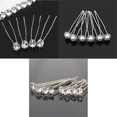 20PCS Clear Crystal Rhinestone Diamante Wedding Bridal Prom Hair Pins Hairpin