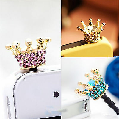 Crown 3.5mm Anti Dust Earphone Plug Cover Stopper Cap For Phone White Pink Blue