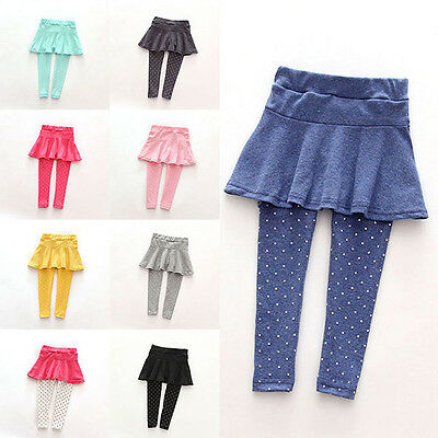 Cute Baby Toddler Girls Sweet Pantskirt Warm Culotte Leggings Tutu Skirt Pants