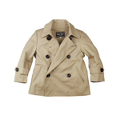 NEW Boys Kids Classic Double Breasted Trench Coats Khaki Color Jackets size 2-10