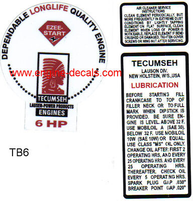 #TB60 Tecumseh 6hp decal H60 Troy Bilt Balloon