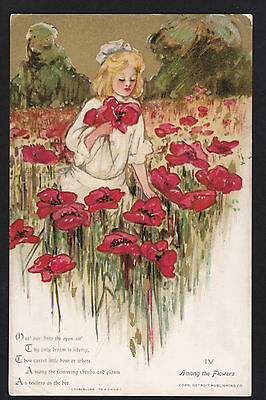 c1908 Schmucker Among the Flowers poppies Childhood Days series postcard