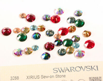 Genuine SWAROVSKI 3288 XIRIUS Round Flat Sew-On Stones Crystals * Many Sizes