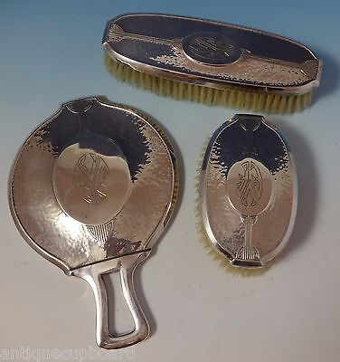 Carthage by Wallace Sterling Silver Dresser Set 3pc Hand Hammered (#1037)
