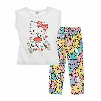 Hello Kitty Set, Leggings + Top, weiß-gemustert, Gr. 98-128
