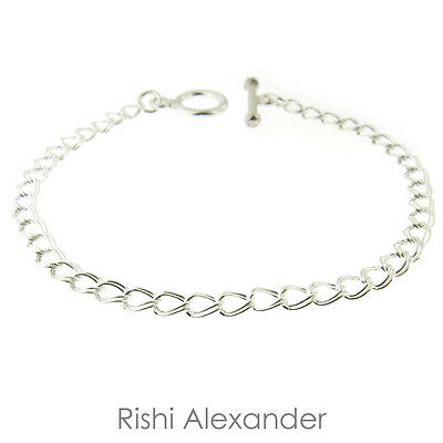 Sterling Silver Double Link Parallelo Charm Bracelet with Toggle Clasp