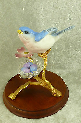Porcelain Bluebird Figurine on Gilded Bronze Branch Glass Nest of Eggs Blue Bird