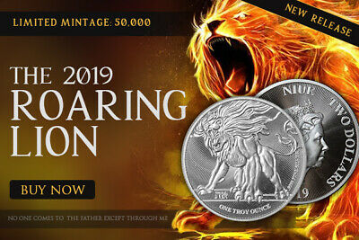 Niue 2 Dollars 2019 Roaring Lion Judah Silver 999 1 oz BU Coin Truth Coin Series