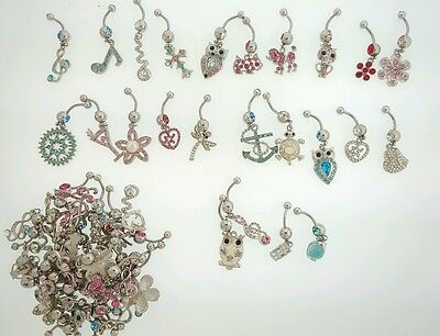 50 New Wholesale Lot 14G Belly Button Rings Body Jewelry US Seller