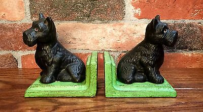 Cast Iron Pair of Black Scottish Terrier Dog Vintage Bookends