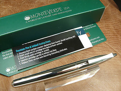 Monteverde Poquito Inkball Pen In Chrome Cartridge Fill Rollerball New/box