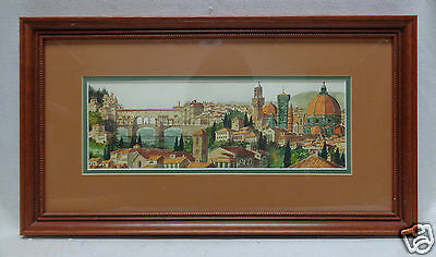SGD Vintage Matted Architectural Watercolor Painting w. Nice Vintage Wood Frame