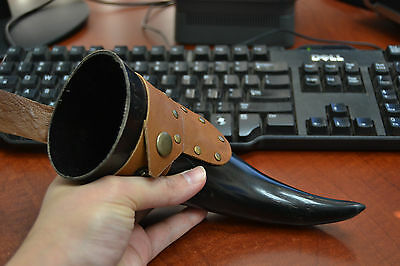 """Honey Buffalo Horn Medieval Drinking Cup With Leather Holster 9"""" T-2367A"""