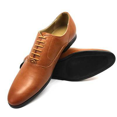 New Mens Dress Solid Cognac Round Toe Lace Up Oxford Semi Pointed By AZAR MAN
