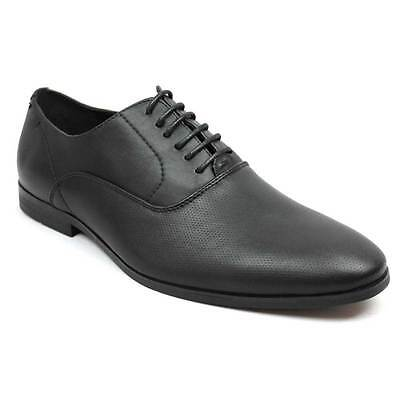 New Mens Dress Shoes Black Round Toe Dotted Lace Up Oxford  By AZAR MAN