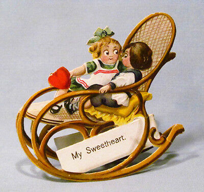 Antique Paper Valentine Googly Kids in Bentwood Rocking Chair Action Greeting