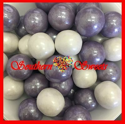 700G Shimmering Gumballs Lavender Purple White Gumball Lollies Candy Buffet