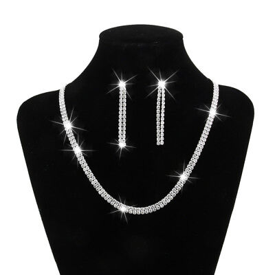 Wedding Bridal Rhinestone Crystal Necklace Drop Earrings Proms Jewelry Set