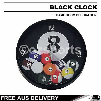 Black Billiard Pool Table Clock for Game Room Decoration Gift Free Postage