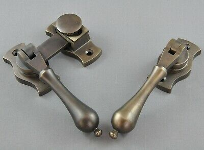 FRENCH DOOR FASTENER-ANTIQUE BRASS LOCK-SECURE LATCH ROBUST-FLY screen-gauze