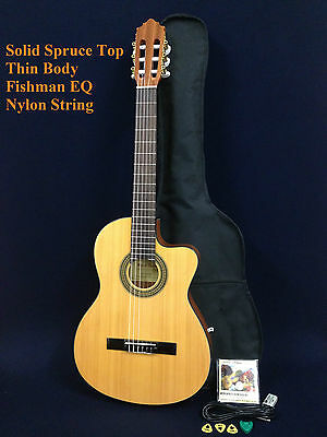 Miguel Rosales Solid Spruce Top Thin-body Classical/Electric Guitar, Fishman EQ