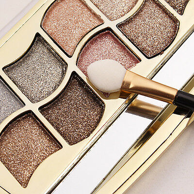 New 12 Colors Shimmer Eyeshadow Eye Shadow Palette & Makeup Cosmetic Brush Set