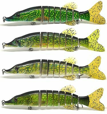"5"" & 8"" Pike Musky Fishing Swimbait Life-like Multi Jointed Lure Bait BIG SIZE"