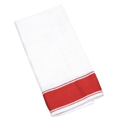 10x Olympia Gastro Napkins 500x350mm Cotton Tableware Serviettes Red Border