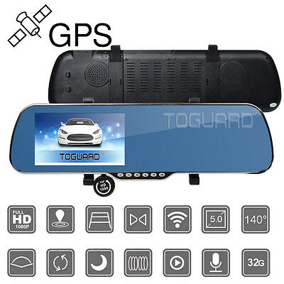 """5"""" Android HD 1080P GPS Car DVR Front Rear Camera Cam Rearview Mirror AU STOCK"""