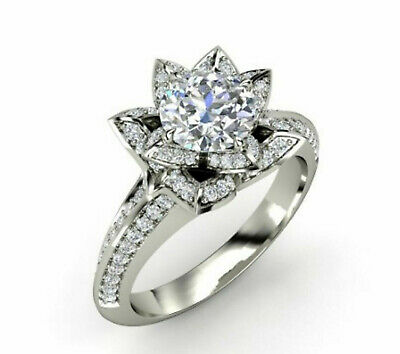 2.46ct Brilliant Cut Floral Bridal Diamond Engagement Ring Solid 14k White Gold