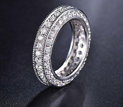 0.81 Ct Brilliant Cut Eternity Bridal Wedding Band Solid In 14Kt White Gold