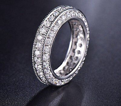 1 Ct Brilliant Eternity Anniversary Engagement Wedding Band Solid 14k White Gold