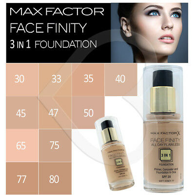 Max Factor Face Finity All Day Flawless 3 in 1 Foundation & Primer Choose Shade