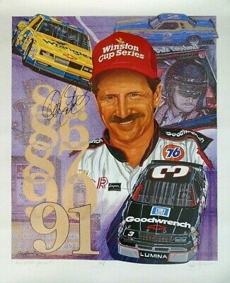 "Dale Earnhardt Signed  ""five Golden Years"" Sam Bass Signed Artist Proof"